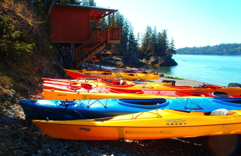 Kayaks at Otter Cove Resort.