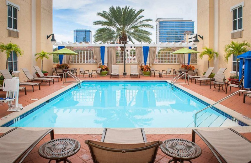 Outdoor pool at High Pointe Hotels.