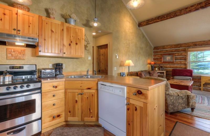 Rental kitchen at Moonlight Rentals in Big Sky.