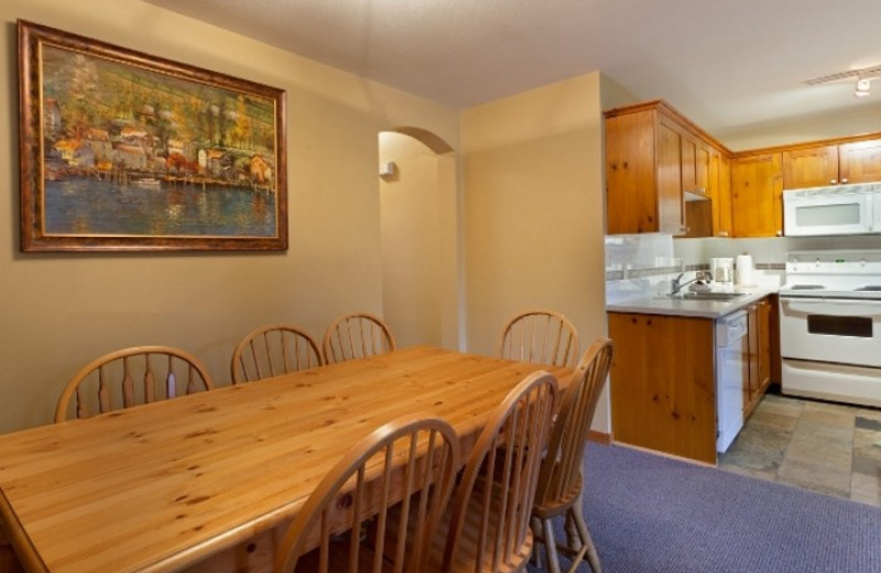 Vacation rental dining room at kitchen at Whistler Premier Resort.