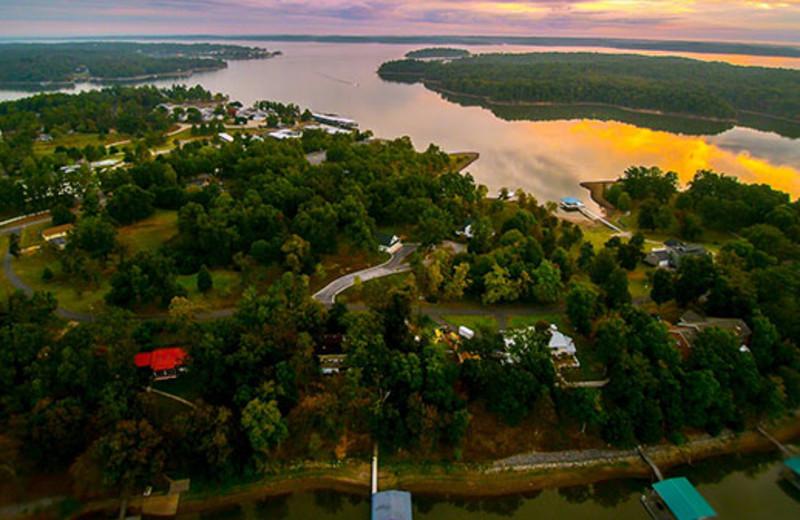 Aerial view of King Creek Resort & Marina.
