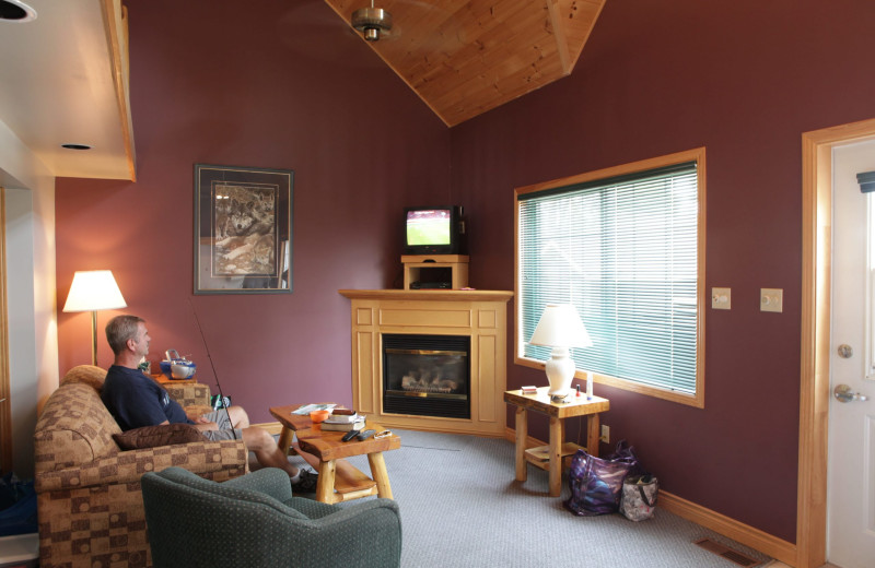 Cottage living room at Southview Cottages Resort.