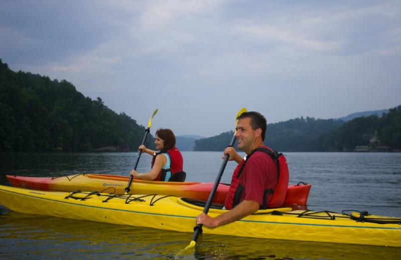 Kayaking at Rumbling Bald Resort.
