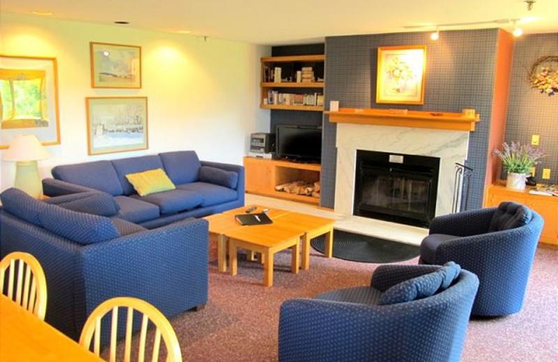 Fireplace living room at Highridge Condominiums.