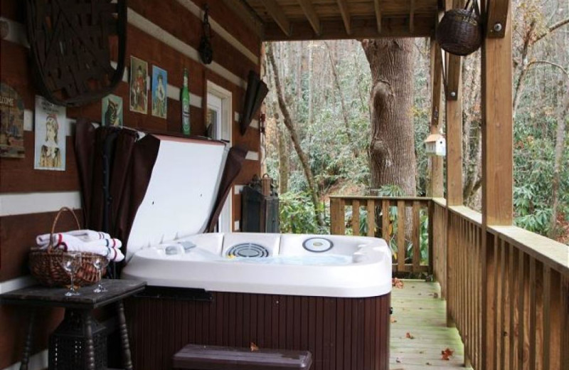 Rental hot tub at At Your Wits End Vacation Rentals.