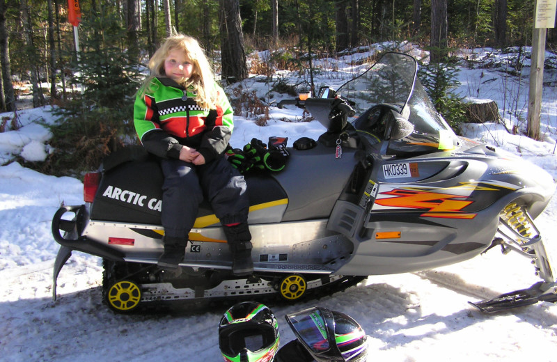 Snowmobiling at Schatzi's 4 Seasons Resort.