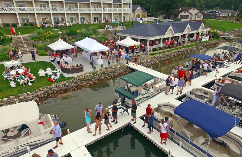 Dock at Bay Pointe Inn Lakefront Resort.