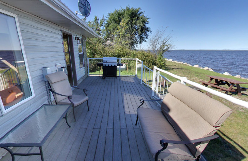 Cabin deck at Buffalo Point Resort.