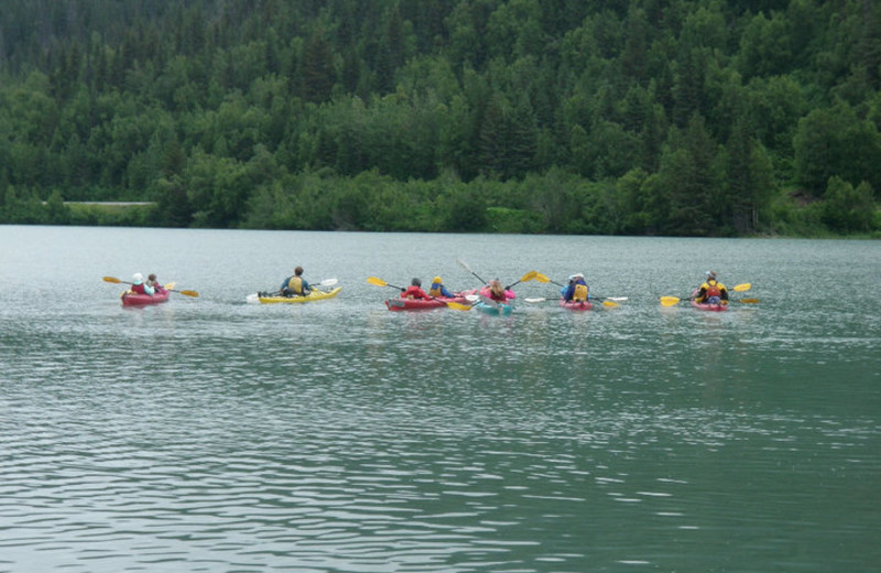 Kayaking at Trail Lake Lodge.