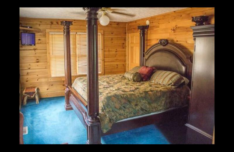 Cabin bedroom at Mountain Shadows Resort.