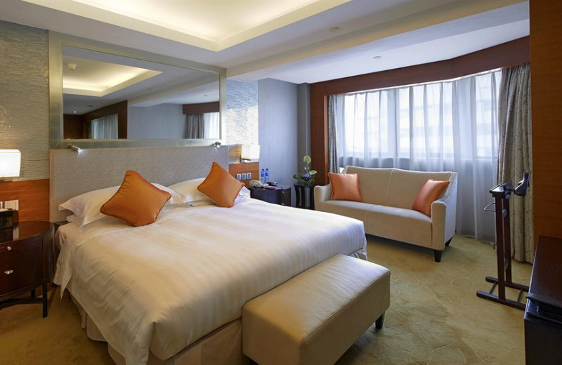 Guest room at Crowne Plaza Beijing.