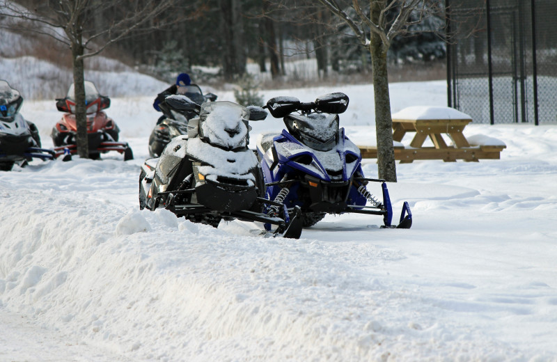 Snowmobiling at Northernaire Resort.