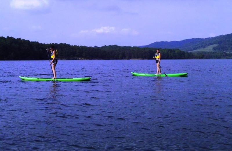 Paddle boarding at Rocky Gap Casino Resort.