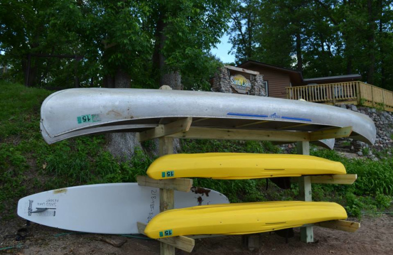 Canoes and kayaks at Sand Lake Resort.