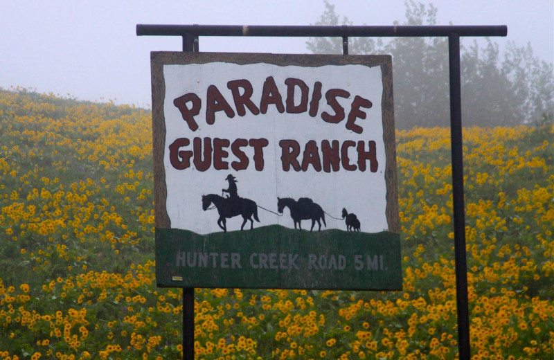 Sign at Paradise Guest Ranch.