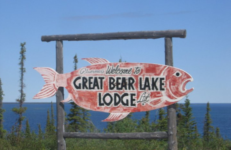 Lodging sign at Plummer's Arctic Fishing Lodges.