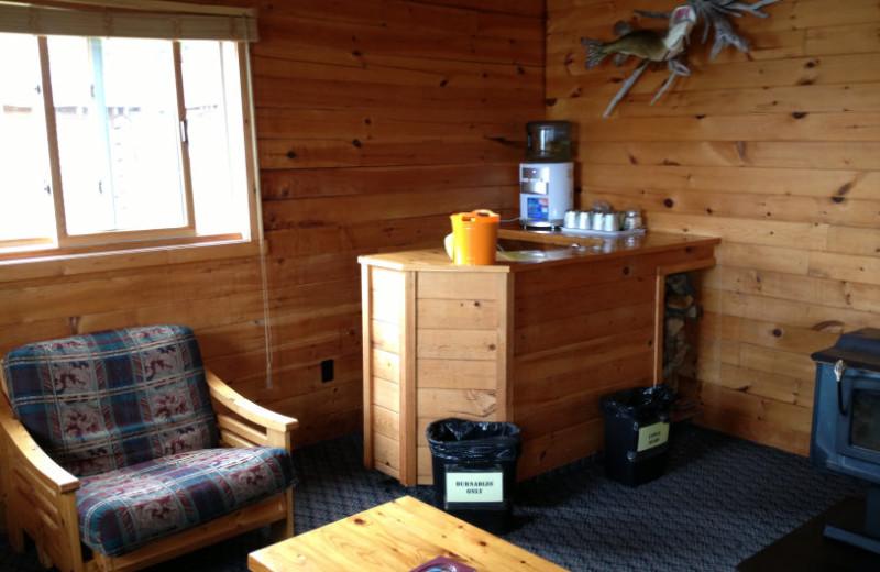 Cabin living room at Maynard Lake Lodge and Outpost.