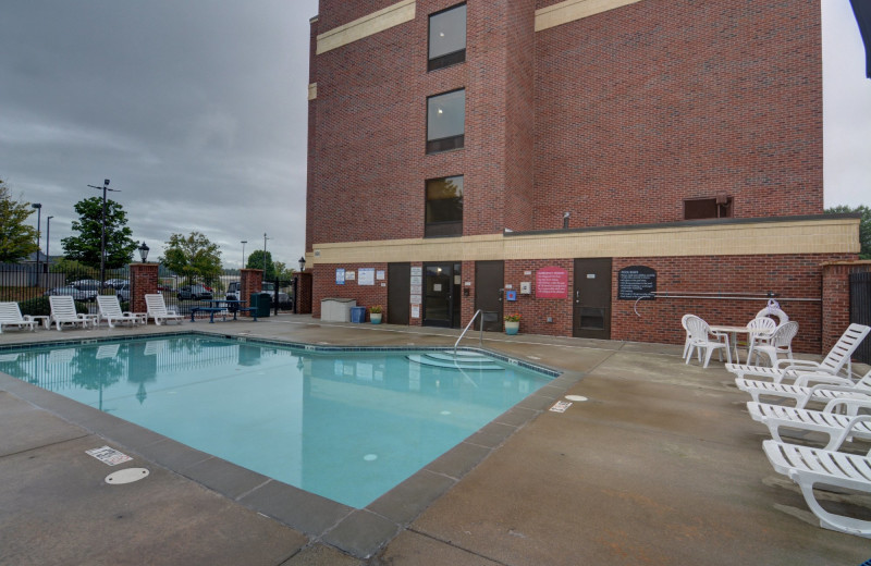 Outdoor pool at Comfort Suites Outlet Center.