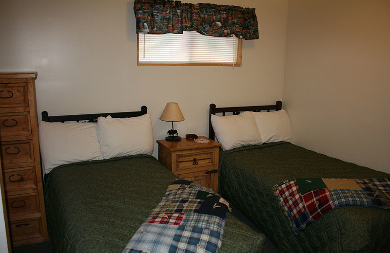 Guest bedroom at Flaming Gorge Lodge.