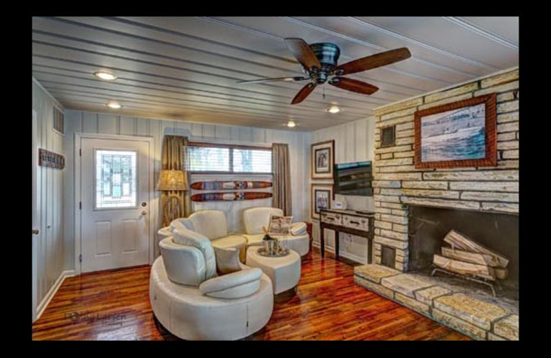 Cottage living room at Mallard Point Resort.