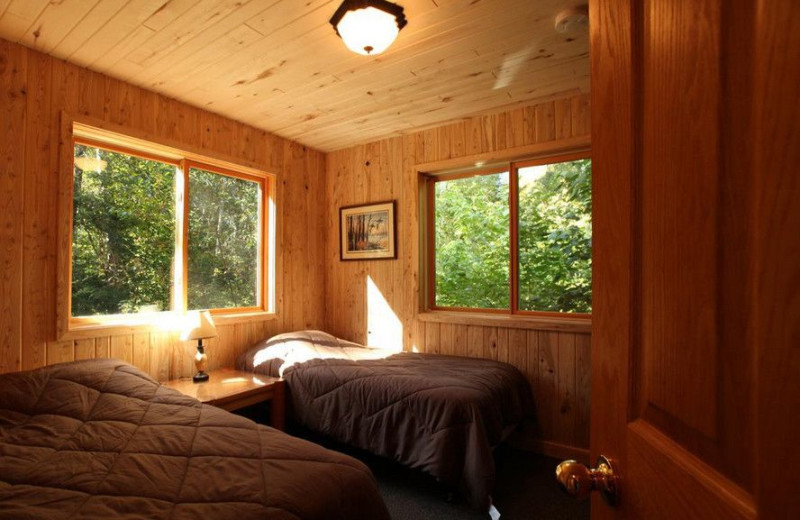 Cabin bedroom at Glenwood Lodge.