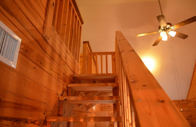 Cabin stairs at Yogi on the Lake.