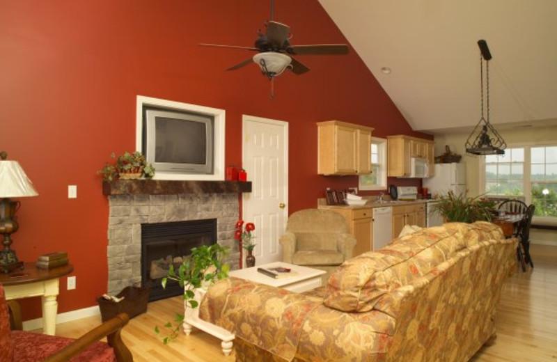 Living room at Edgewater Resort at Taylorsville Lake.