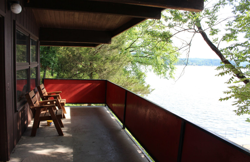 Guest balcony at Hawks Landing Resort.