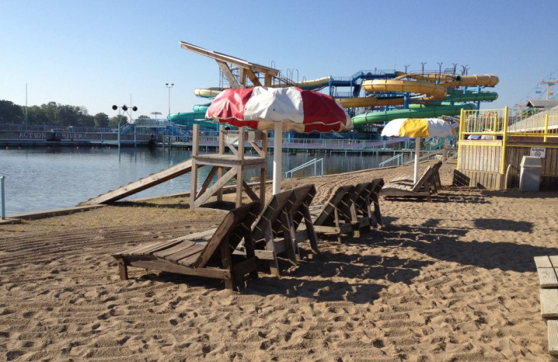 The beach at Indiana Beach Amusement Resort.