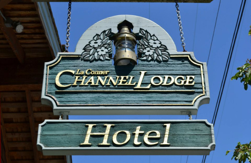 Sign at La Conner Channel Lodge.