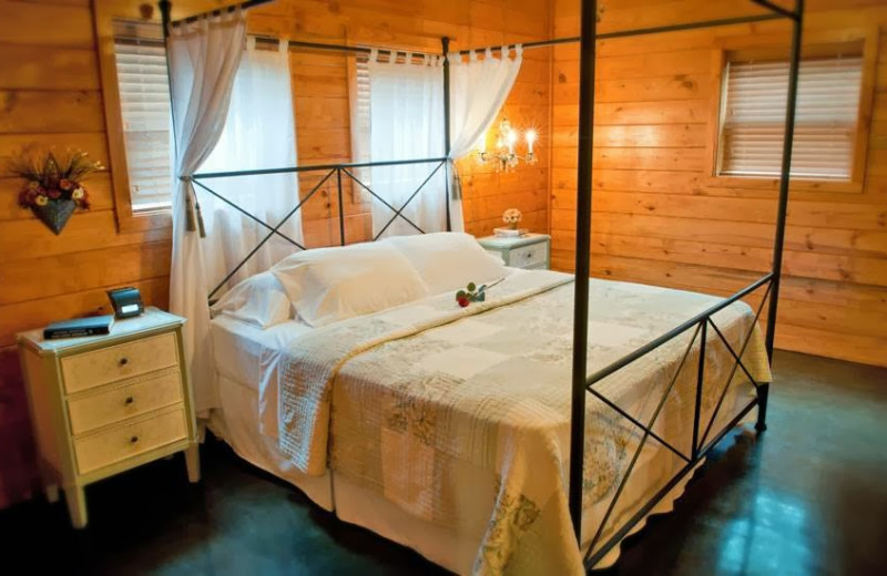 Cabin bedroom at Remember When Cabins.