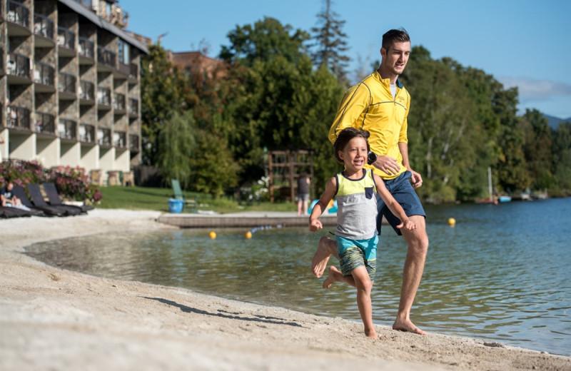 Running on the beach at Golden Arrow Lakeside Resort.