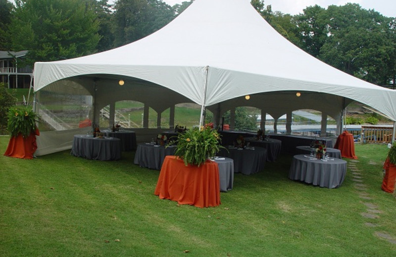 Reception tent at Paradise Cove Marine Resort.