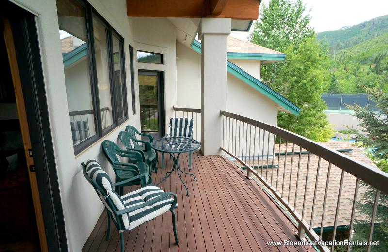 Rental balcony at Steamboat Vacation Rentals.