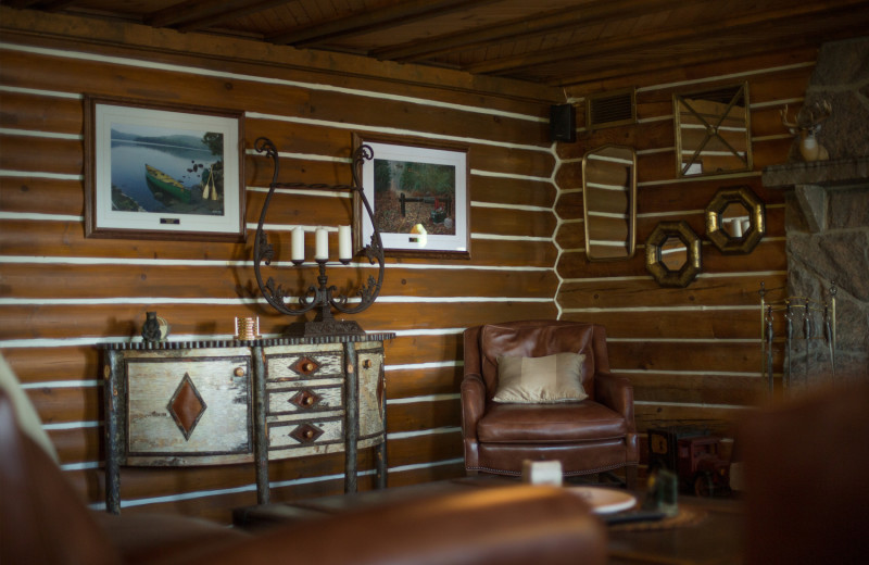 Cabin interior at Obabika Resort.