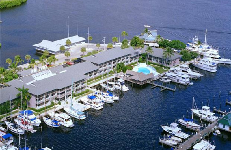 Aerial view of Cove Inn on Naples Bay.