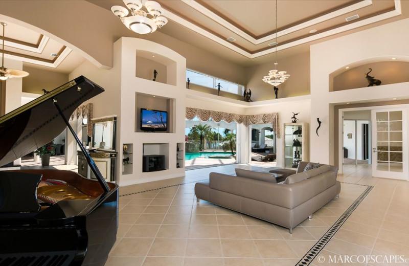 Rental living room at Marco Escapes.