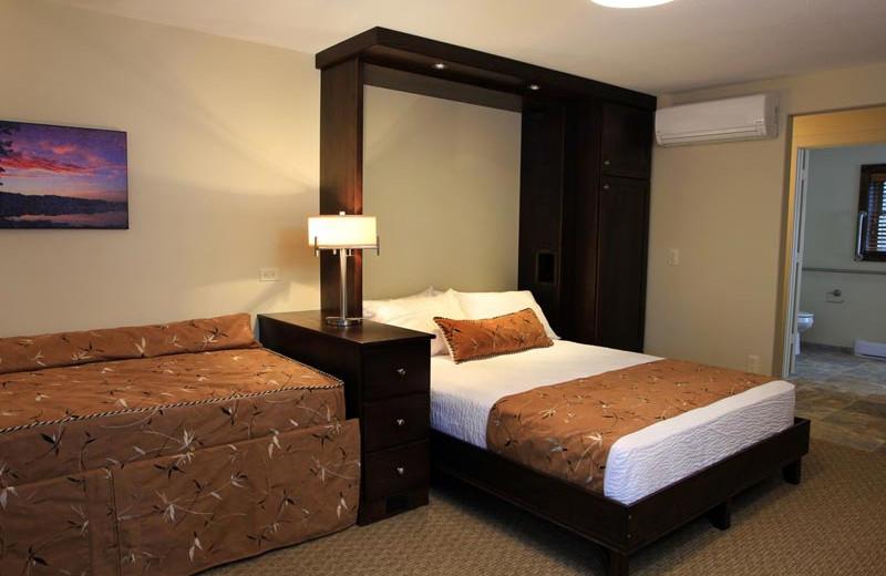 Guest bedroom at Sojourn Lakeside Resort.