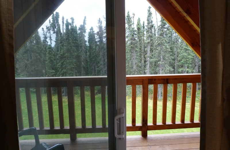 Guest balcony at Salmon Catcher Lodge.