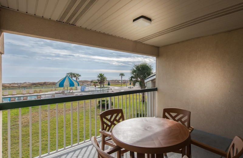 Balcony at Days Inn & Suites Jekyll Island.