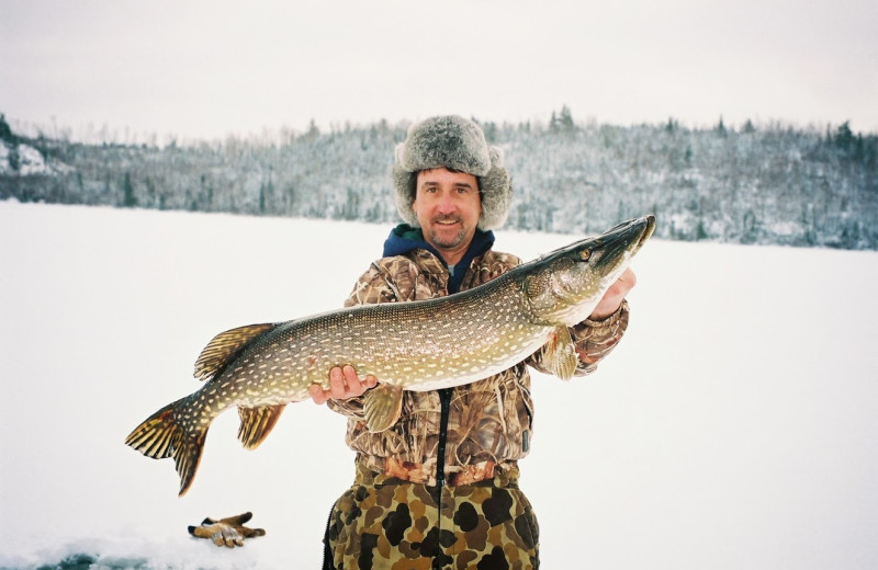 Ice fishing at Northern Lights Lodge & Resort.