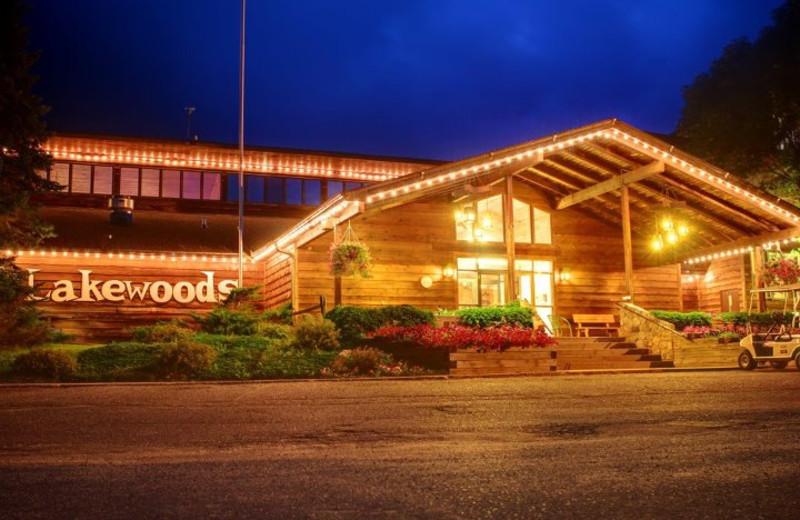 Nighttime exterior of Lakewoods Resort.
