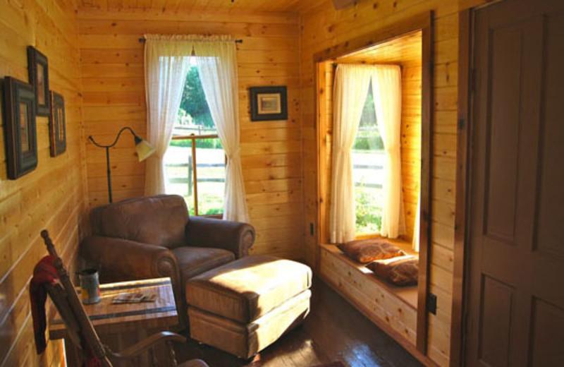 Cabin living room at Newton Fork Ranch.