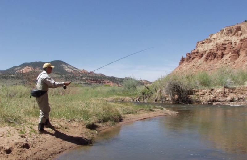 Fishing at The Lodge at Red River Ranch.