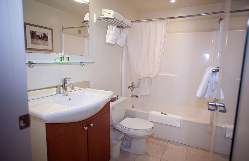 Guest bathroom at Harrison Beach Hotel.