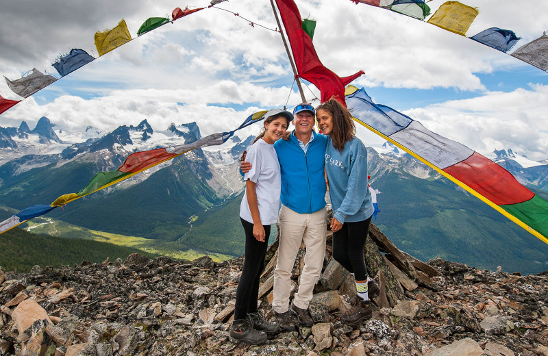 Family on mountain at Bugaboos Lodge.