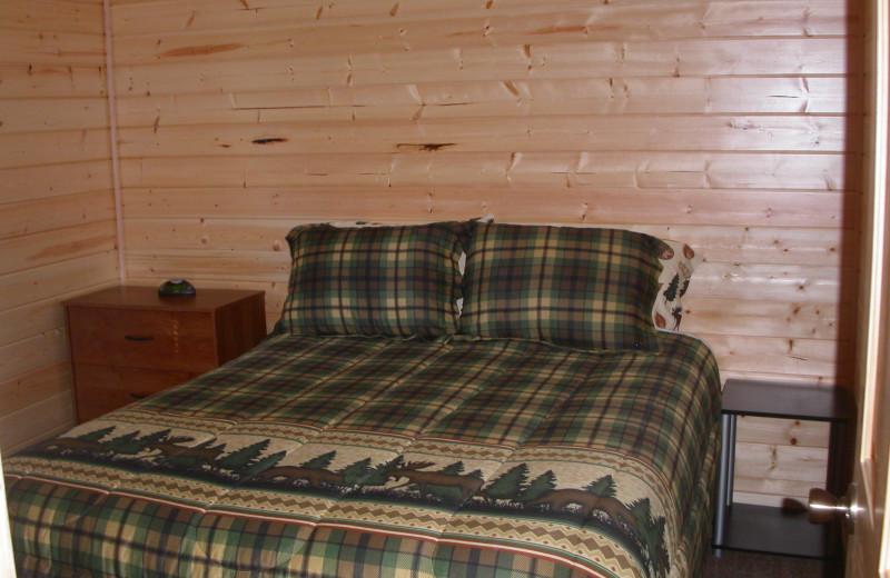 Cabin bedroom at Klondike Cabins.