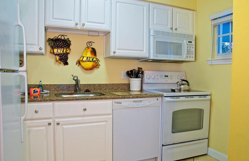 Vacation rental kitchen at Barefoot Beach Resort.