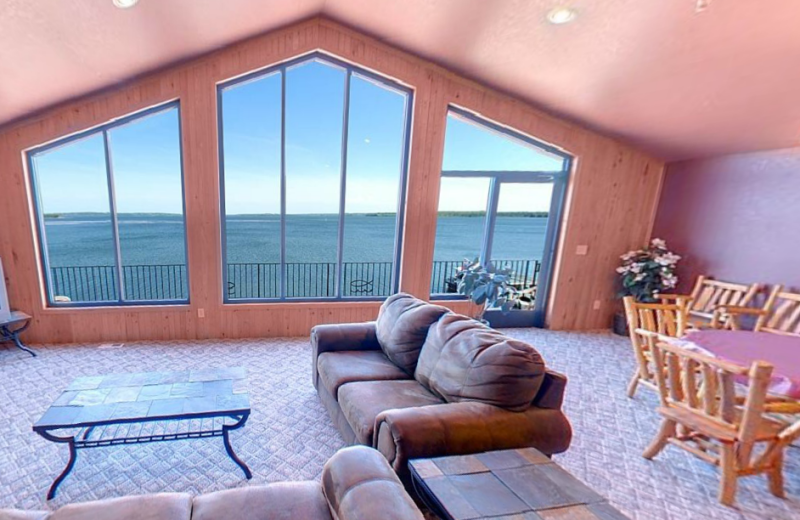Guest living room at Hiawatha Beach Resort.