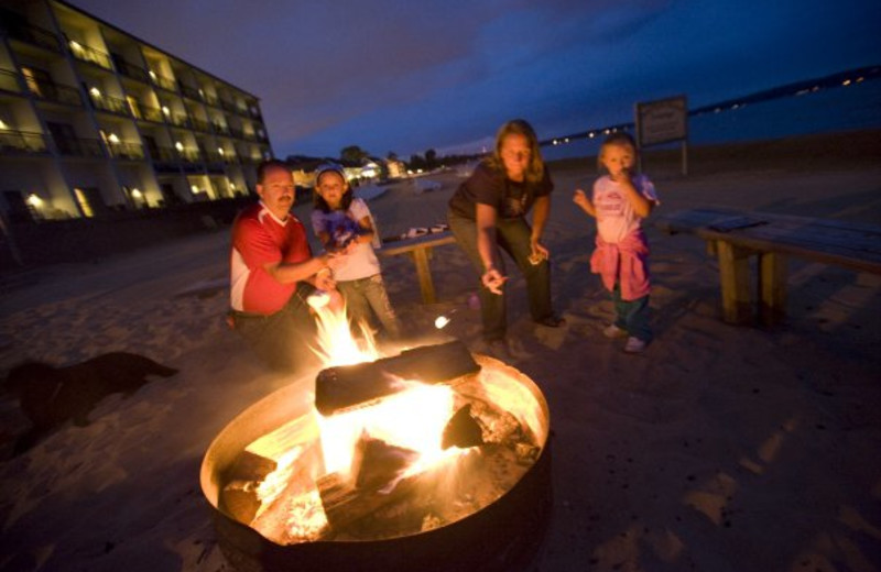Beach fire pit at ParkShore Resort.